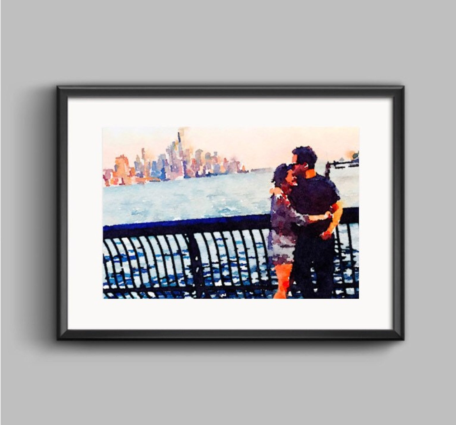 painted photo of couple in front of city