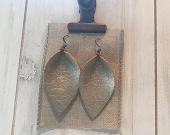 Small faux leather light  gold petal earrings