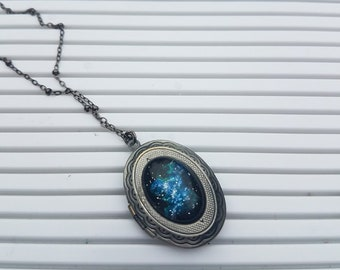 Handpainted Outer Space Nebula Locket - Oval