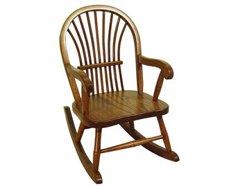 Bon Childs Sheaf Rocking Chair Amish Made Solid Oak Wood Kids Rocker!
