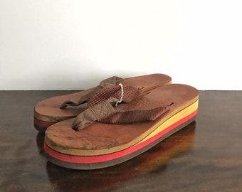 7c1a7bcd7946 Vintage Rainbow Sandals~1970 s Sandals~1970 s Shoes~70 s Fashion~Retro  Bathing Suit~Vintage Surfboard~Wedge Sandals~Vintage Beachwear
