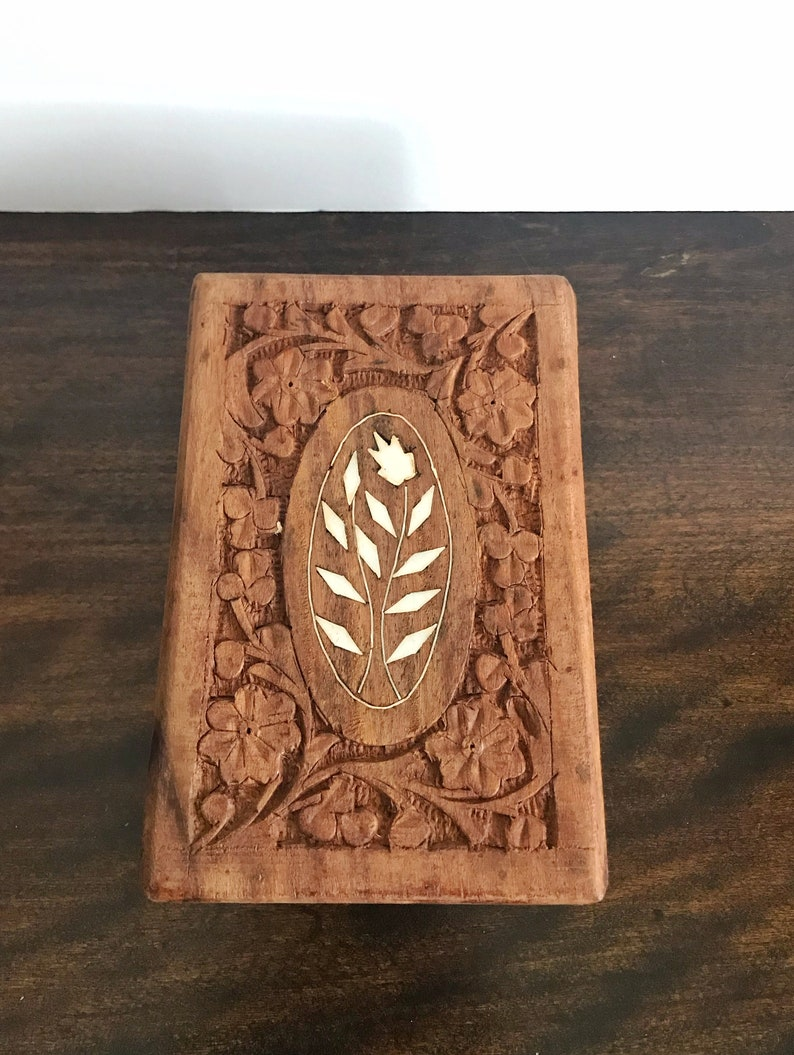 Vintage Hand Carved Wooden Box With Inlay~Made In India~Wedding GIft~Trinket Box~Gifts For Her