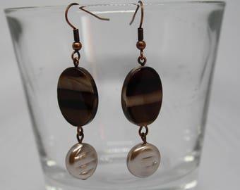 Brown Striped Earrings