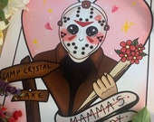 Jason inspired Friday the 13th, pastel goth decor, kawaii classic 80s horror movie art print