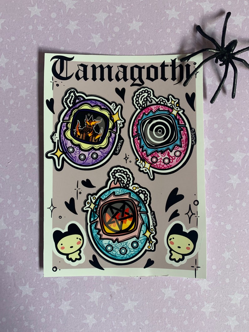 tamagotchi inspired 90s aesthetic nostalgia sticker sheet Tamagothi Sticker sheet Pentagram Pastel goth yami kawaii goth stickers