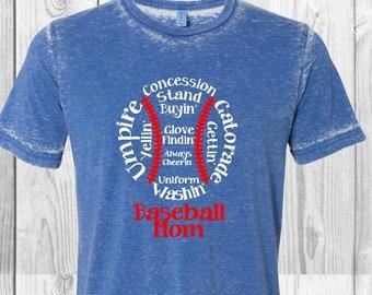 Baseball mom Acid washed shirt