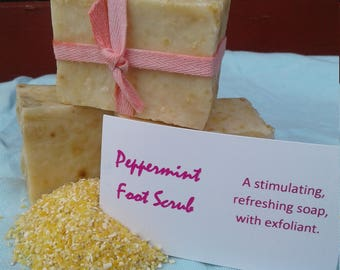 Peppermint Foot Scrub Soap, Cold Process, All Natural, 18th Century Style, Essential Oils, Exfoliating, No Coconut Oil