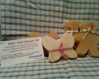Kids Cold Season Bar, Cold Process, All Natural, 18th Century Style, Essential Oils
