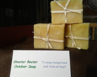 Skeeter Beater Outdoor Soap, Cold Process, All Natural, 18th Century Style, Essential Oils, Repels Mosquitoes and Ticks