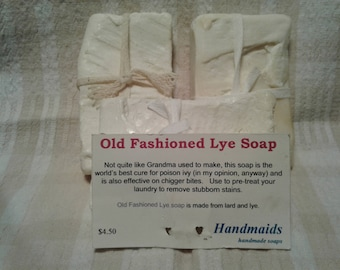 Old Fashioned Lye Soap, Cold Process, All Natural, Laundry Stains, Cures Poison Ivy