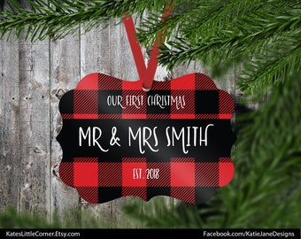 Our First Christmas Ornament, Mr & Mrs Ornament, First Christmas, Married Ornament, Custom Ornament, Wedding Gift Ornament, Benelux Ornament