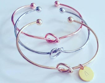 Knot Bracelet Initial Personalized Gift Jewelry Rose Gold Silver