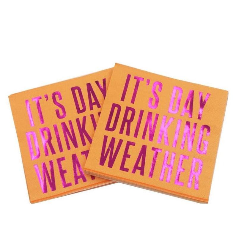 It's Day Drinking Weather  Napkin  Orange & Pink Napkin image 0