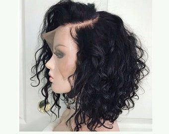 da19e41fcac Curly Lace Front Human Hair Wigs Pre Plucked With Full Frontal Baby Hair  Remy Brazilian Hair Wavy Short Bob Wig