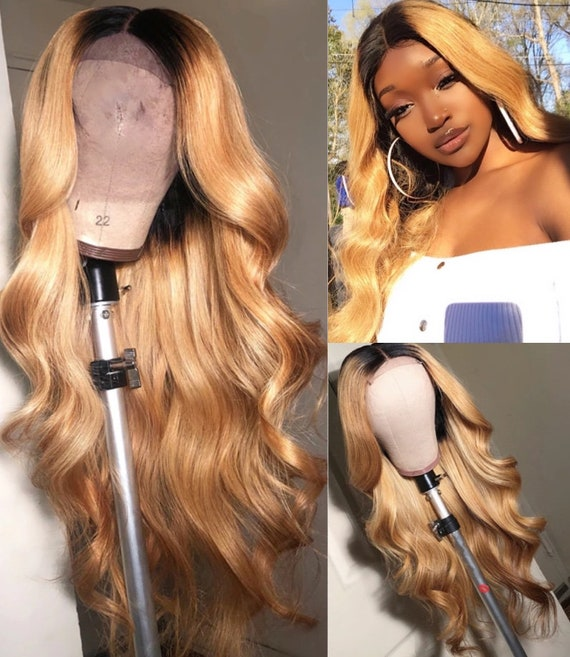 Honey Blonde Human Hair Wig with Deep Part