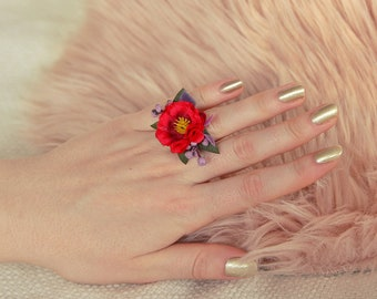 Flower ring romantic red floral jewelry wedding accessories adjustable size ring for bride vintage bridesmaid ring purple floral ring