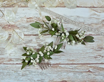 Gypsophila greenery natural headpiece simple eucalyptus boho baby's breath white minimalist hair clip preserved flowers bridal headpiece