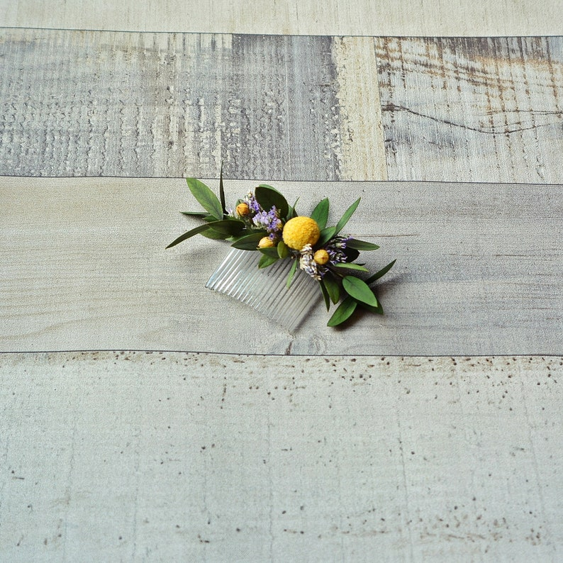 Rustic hair comb dried flowers natural wedding headpiece country wedding purple hair accessory preserved flowers bridesmaid fall headpiece