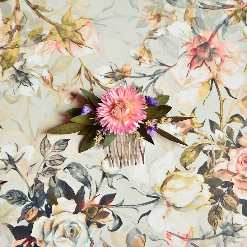 Natural hair comb blush dried flowers preserved eucalyptus rustic wedding headpiece bridal floral hair clip bridesmaid summer hairpiece