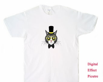 DTG Printing Gentleman Cat Men's T-shirt-DT40