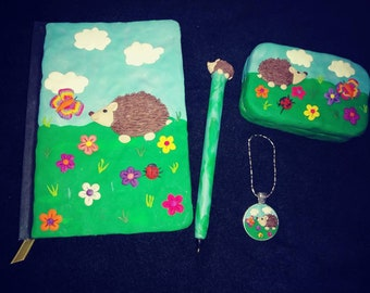 Polymer clay hedgehog gift set