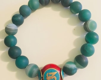 Green Agate bracelet with OHM
