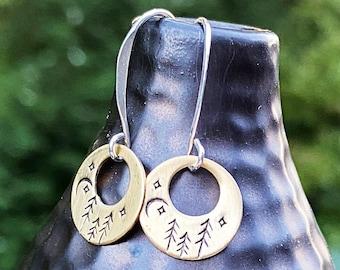 Artisan Sterling Silver & Brass Stamped forest starry sky Moon Earrings, Minimalist, Ear Wire, Unique, Original Trees Starry Night Moon