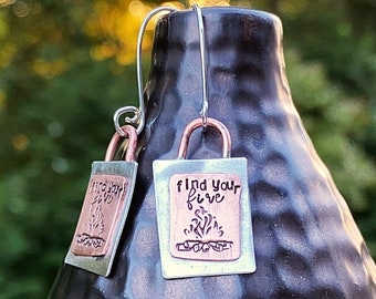Artisan Sterling Silver and Copper Find Your Fire Earrings, Campfire, Flames, Bonfire, Camping Fire, Rustic Artisan Hand Stamped Design Fire
