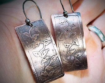 Artisan Sterling Silver and Copper Etched Vine Earrings Versatile Classy Statement One of a Kind Rectangle & Curved Shape Sterling Ear wires