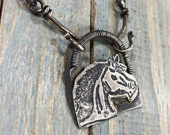 Artisan Solid Sterling Silver Freehand-Drawn One of a Kind Horse Head Pendant Necklace, Inspirational Freedom, Riding, Equine, Etched, Wrap