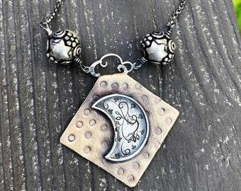 Artisan Sterling Silver & Etched Copper The Moon Tarot Card Necklace, Original Tarot Art, Mixed Metal Pendant, Moon Star Tarot Reading Gift