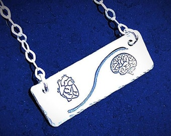 Artisan Stamped Heart and Mind Sterling Silver Pendant Necklace, Brain and Heart, Heart Over Mind, Simple and Can Be Customized