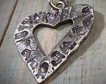 Artisan Stamped Heart Shaped Neighborhood Necklace, Original Little Houses, 100% Profits Benefit the Homeless, One of A Kind Recycled Silver