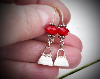 Artisan Sterling Silver Tiny Detailed Purse Earrings, Nice Weight, Faceted Red Jade on Sterling Ear Wires, Solid Charm, Not Hollow