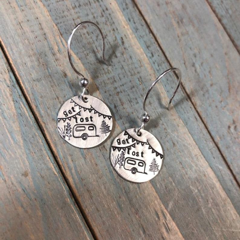 Artisan Sterling Silver Little Stamped Camper Earrings image 0
