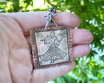 Artisan Sterling Silver & Copper Dancing Woman Lady Pattern Scene Pendant Necklace, Inspirational Frida Kahlo, Lady in a Dress, Dance
