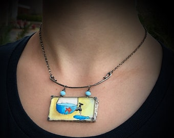 Artisan Original Tiny Painting Encased in Sterling Silver and Glass, Fish Bowl Water Chunky Statement Necklace Hand Stamped & Forged Pendant