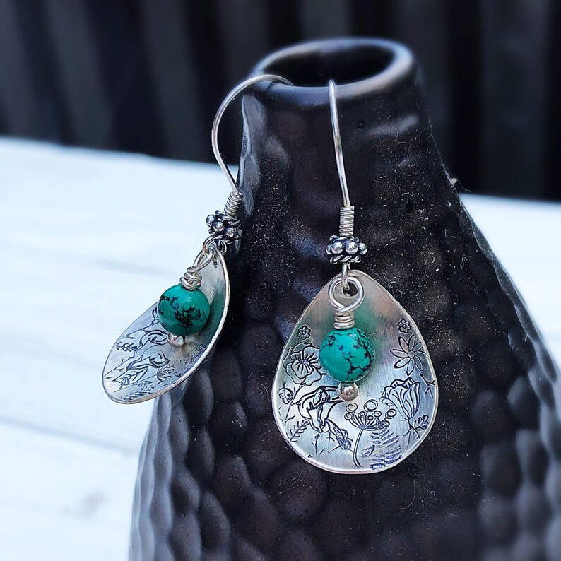 Artisan Sterling Silver Petal & Nevada Turquoise beads with image 0