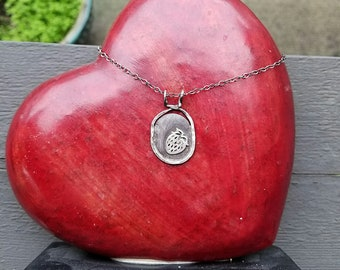 Artisan Solid Sterling Silver Strawberry Pendant, Rustic, One of a Kind, OOAK, Berry, Oxidized and Antiqued, Necklace Perfect for Rockabilly