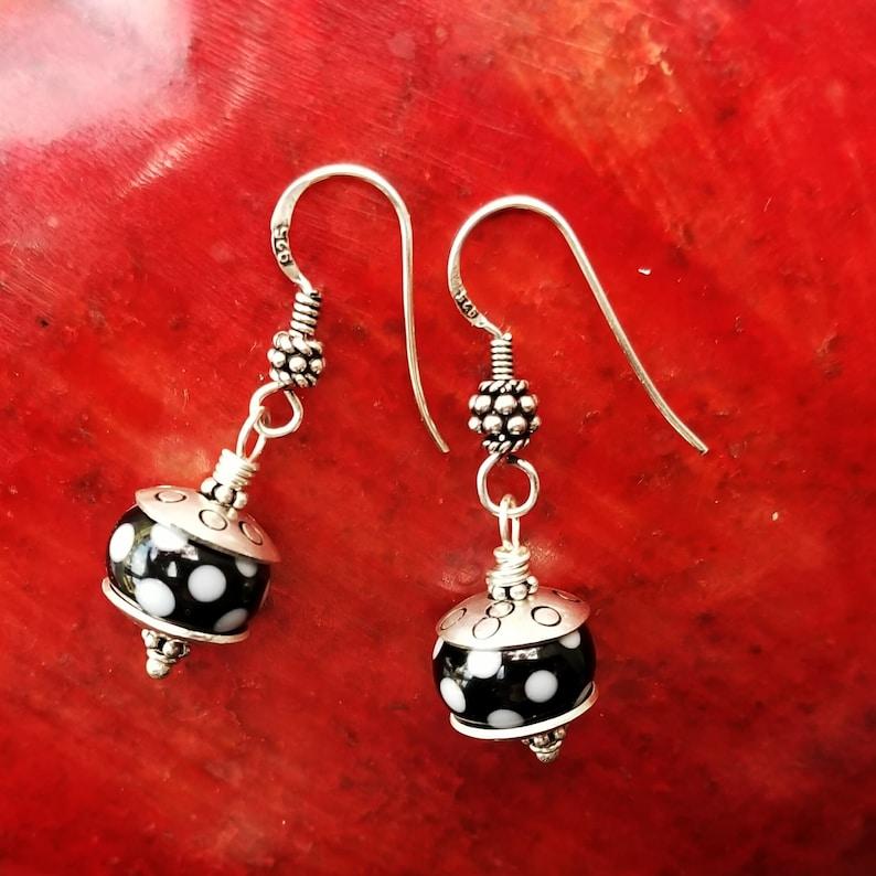ef9f03a34 Artisan Sterling Silver & Polka Dot Lampwork Glass Earrings | Etsy