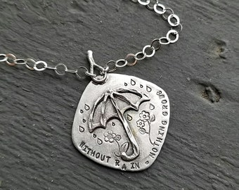 Artisan Sterling Silver Necklace, Without Rain Nothing Grows, Unique and Rustic, One of a Kind, Umbrella and Flowers, Raindrops, OOAK