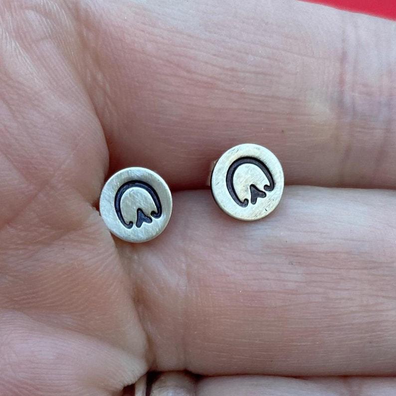 Minimalist  Equine lover Unshod Barefoot Artisan Sterling Silver Petite Horse Hoof Print Stud Earrings sterling stud earrings
