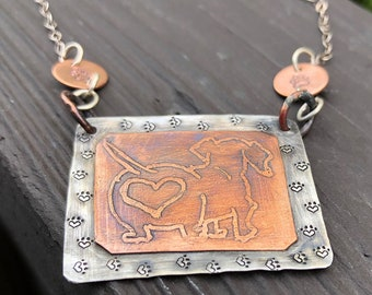 Artisan Sterling Silver and Etched Copper Necklace Pendant, Daschund, Doxie, Cute Butt, Paws, Paw Print, Dog Lover, Metalsmith Mixed Metal