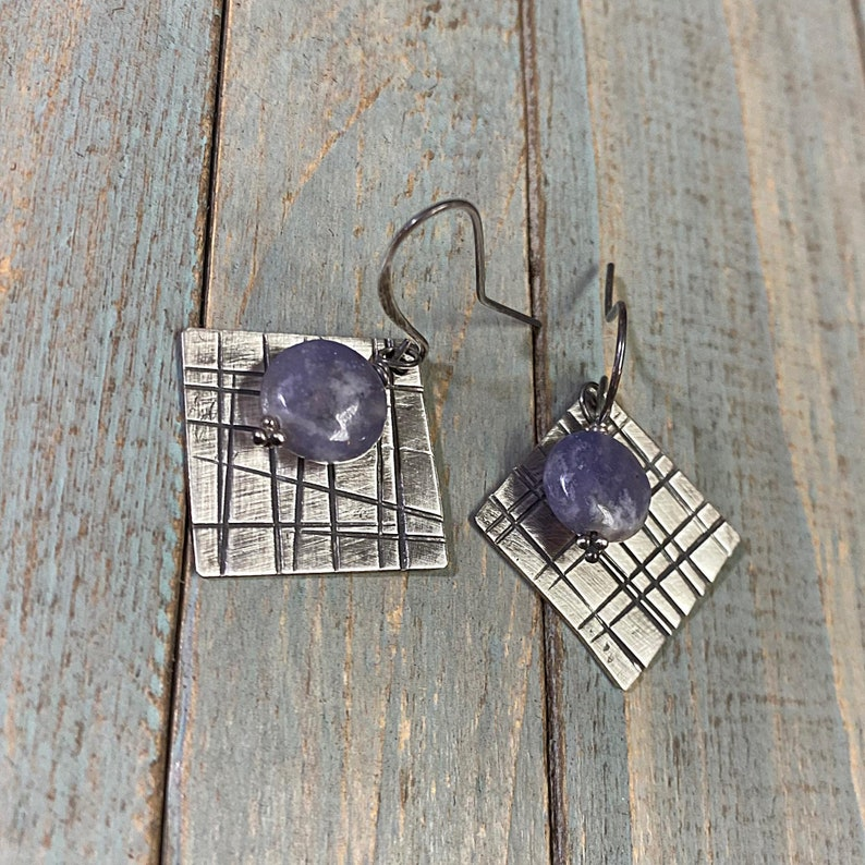 Artisan Sterling Silver /& Lepidolite Geometric or Plaid themed earrings with Sterling Earwires Drop Dangle Earrings lavender purple square