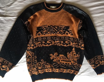 Vintage knit and leather sweater