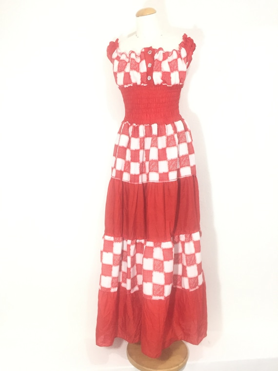 Women vintage plaid full lenght dress