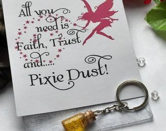 Pixie Dust Keyring, Fairy Dust Keyring, Glitter Keyring, Fairy Keyring, Bottled Fairy Dust, Bottled Pixie Dust, Fairy Dust Keychain
