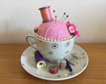 Teacup Pin Cushion sewing Mother's Day gift Unique