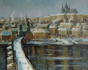 Prague. Charles Bridge in Winter.