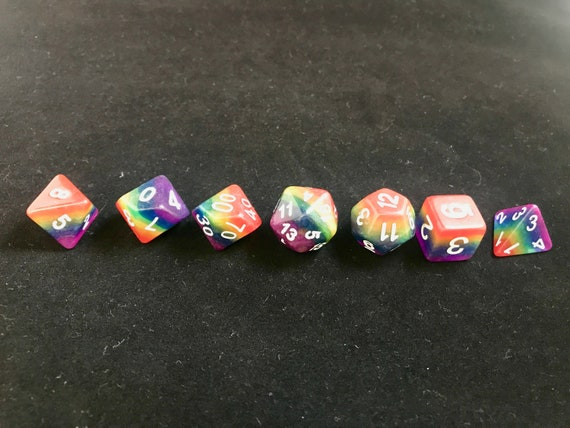NEW for 2019 Transparent Rainbow 7pc D/&D RPG Gaming Dice Set Iridescent Fairy